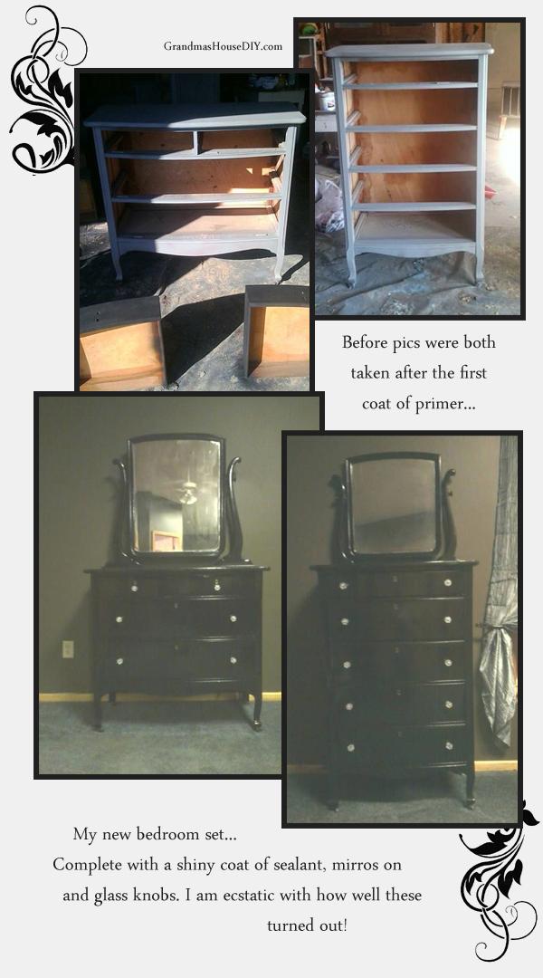 Refinishing and creating a bedroom set of mismatched furniture. GrandmasHouseDiy.com