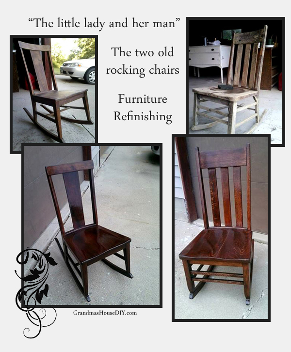 The story of refinishing two old rocking chairs from GrandmasHouseDiy.com