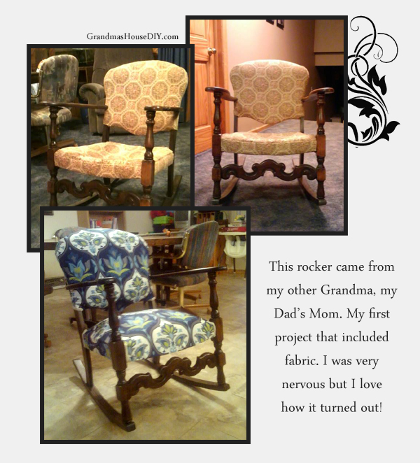An old rocking chair upholstered and refinished from GrandmasHouseDiy.com