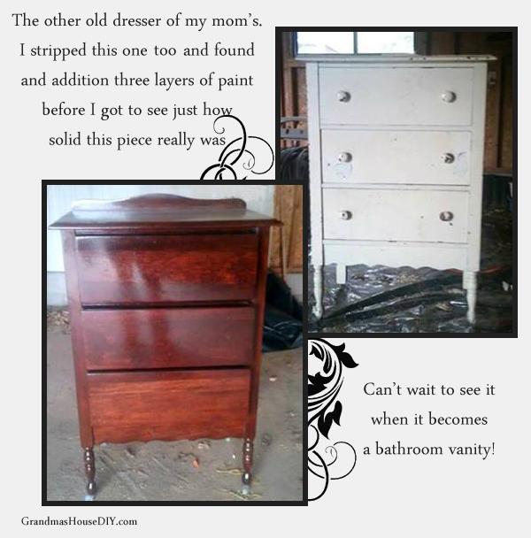 Refinishing a dresser into a gorgeous bathroom vanity - Grandmashousediy.com